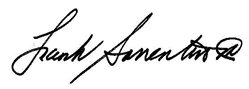 Signature of President & CEO Frank Sorrentino III